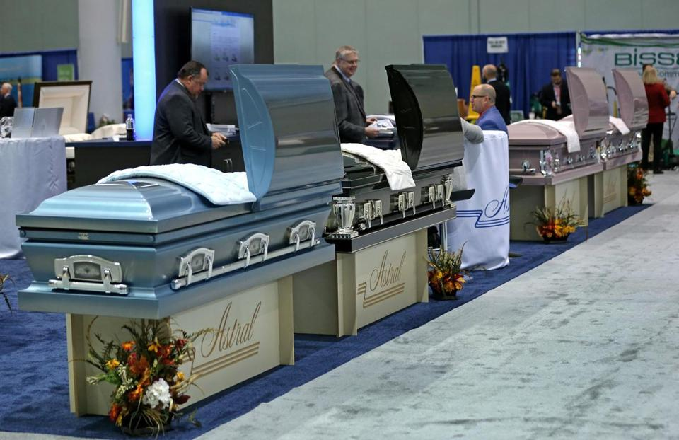 Caskets were lined up for viewing.